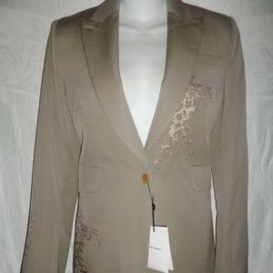 New COSTUME NATIONAL Embroidered Wool Blazer 44 8